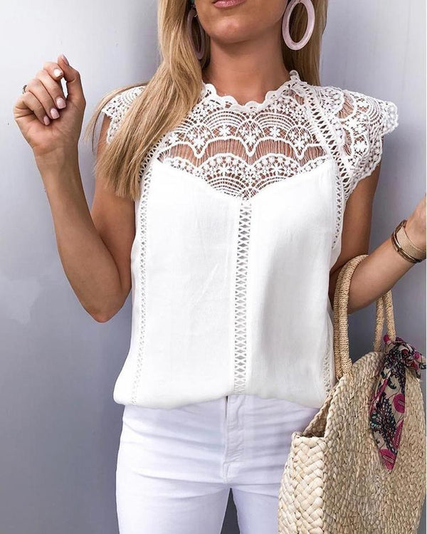 Crochet Lace Trim Splicing Casual Blouse