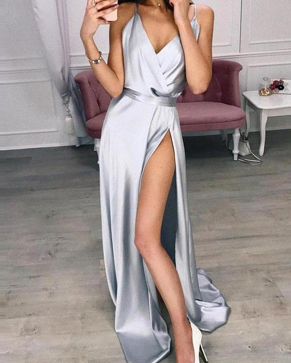 Spaghetti Strap Thigh Slit Evening Dress