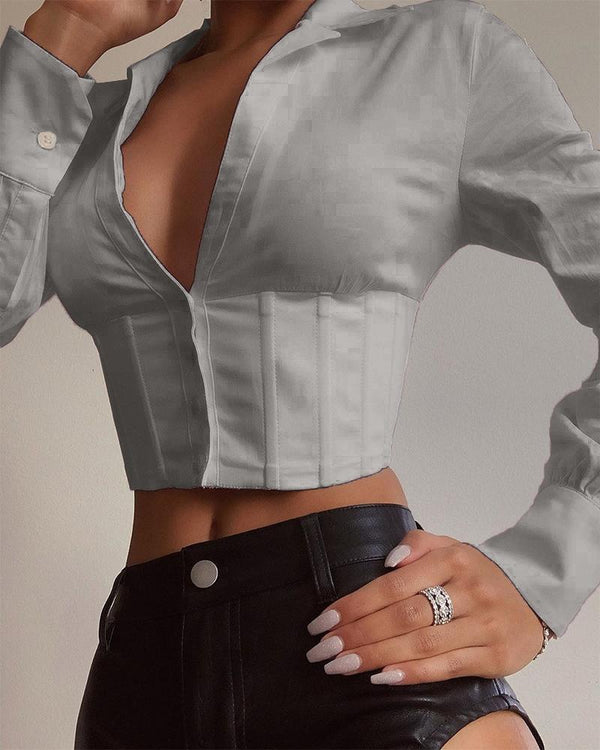 Solid Collared Corset Crop Top