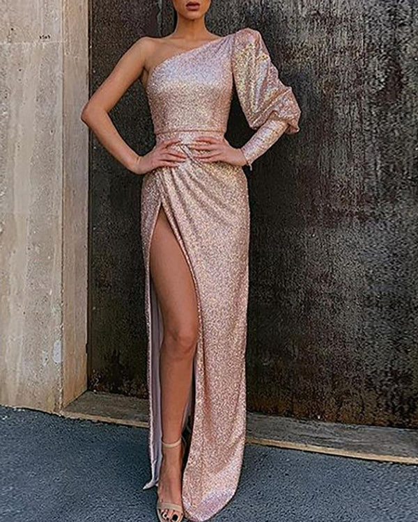 One Shoulder Puffed Sleeve High Slit Sequins Dress