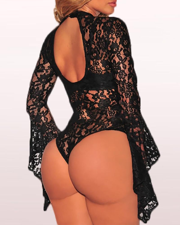 Mesh Lace Insert Bell Cuff Backless Bodysuit