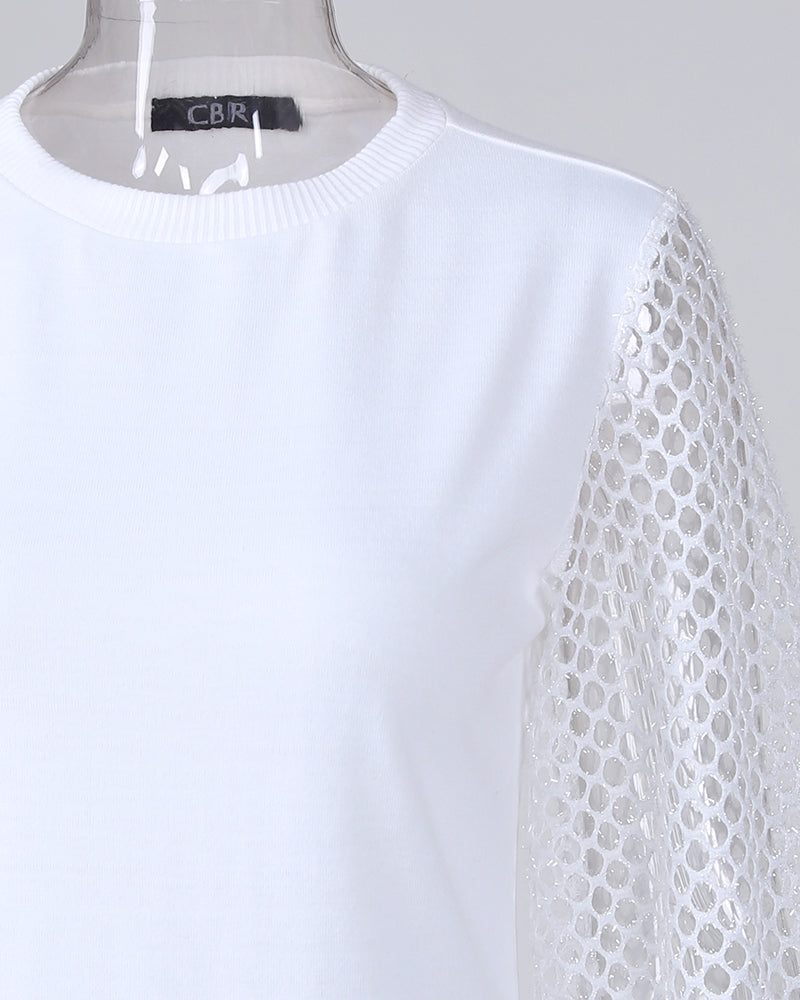 Solid Fishnet Long Sleeve Top