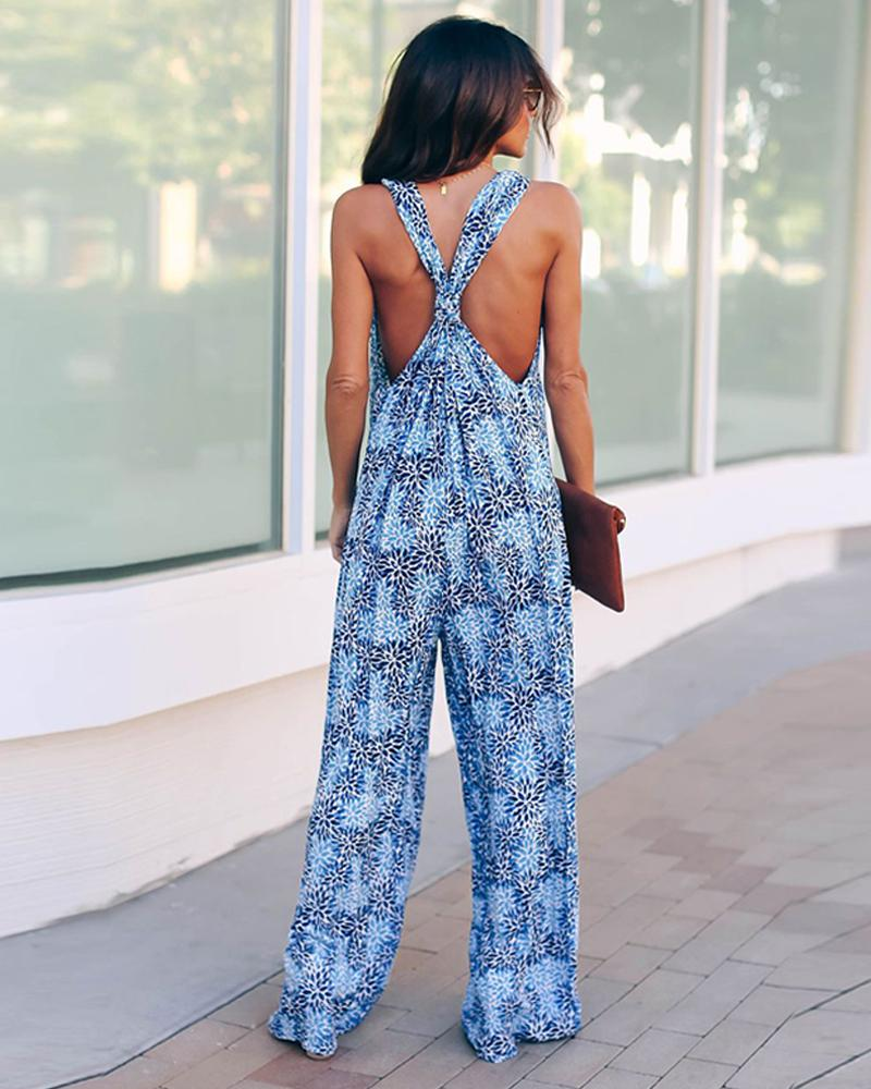 Floral Deep V Neck Pocketed Deep Racerback Jumpsuit