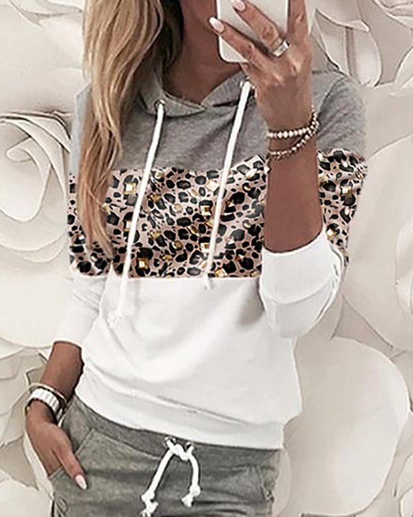 Leopard Print Insert Hooded Top & Pants Sets