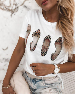 Short Sleeve Heels Print Beaded T-shirt