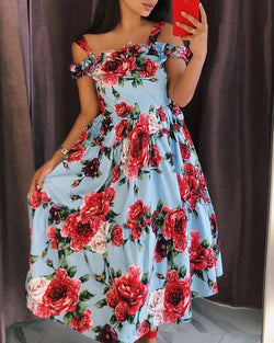 Floral Print Shirring Cold Shoulder Casual Dress
