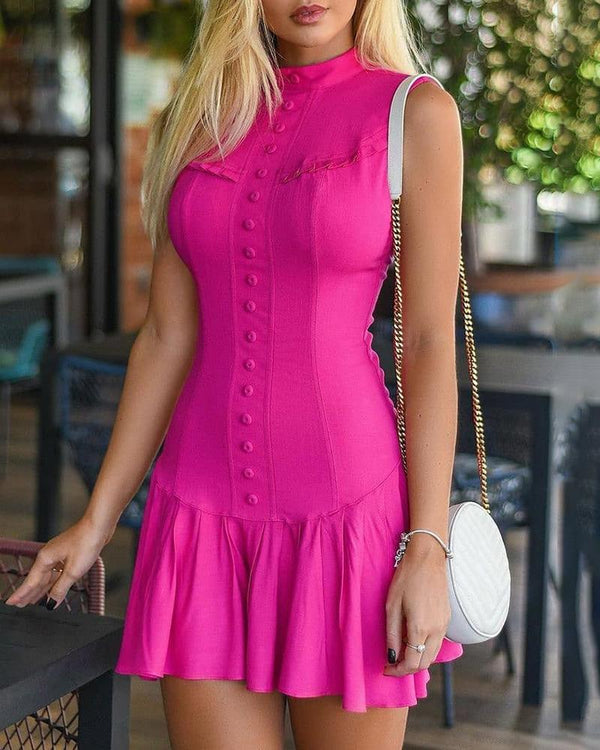 Button Design Ruffle Trim Sleeveless Mini Dress