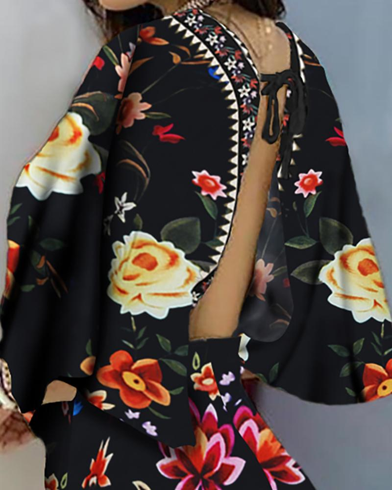 Floral Print Backless Casual Romper