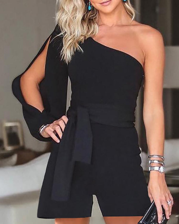 Stylish One Shoulder Slit Sleeve Romper
