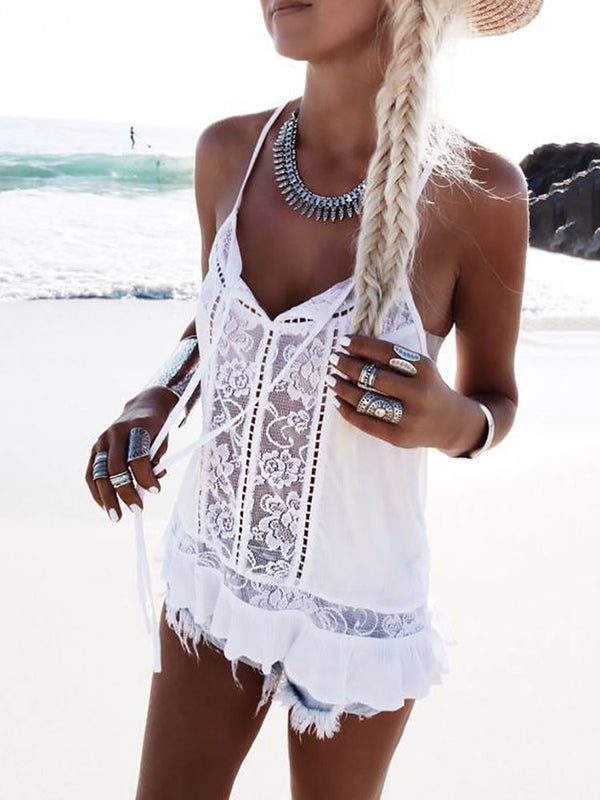 Sexy See Through Crochet Ruffled Tank Top