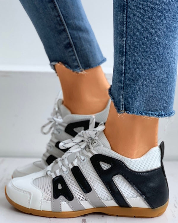 Letter Pattern Colorblok Lace-Up Sneakers
