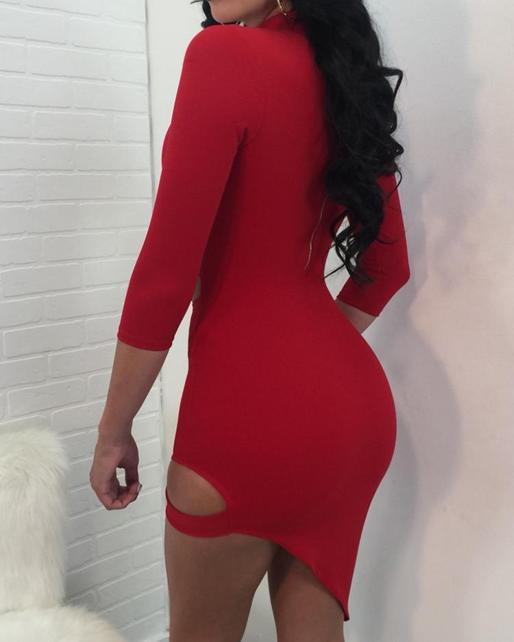 Choker Cut Out Irregular Bodycon Dress