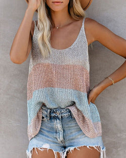 Sleeveless Thin Strap Knitted Top
