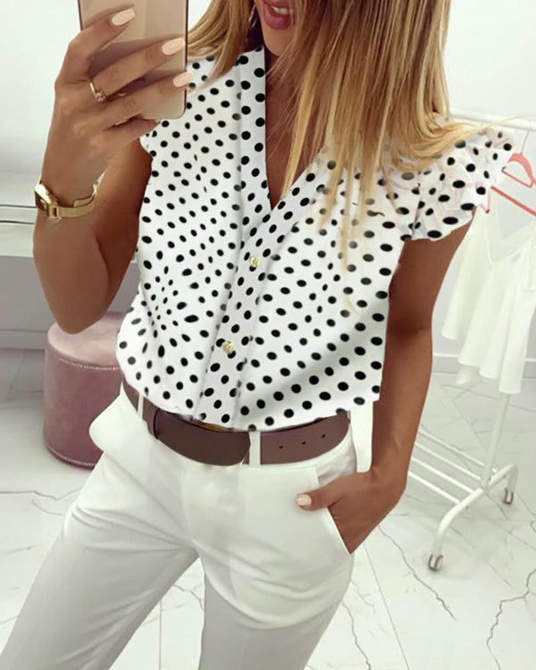 Dot Print Flutter Sleeve Casual Blouse