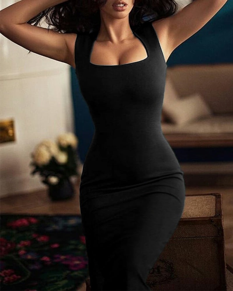 Square Neck Thick Strap Bodycon Dress