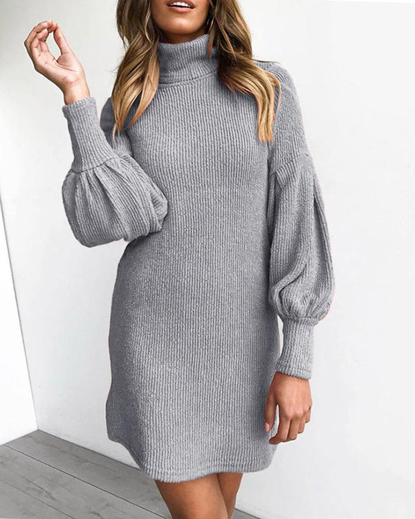 High Neck Lantern Sleeve Ribbed Dress
