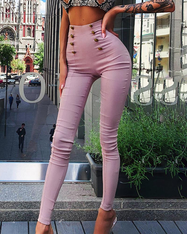 Solid High Waist Double-breasted Pants
