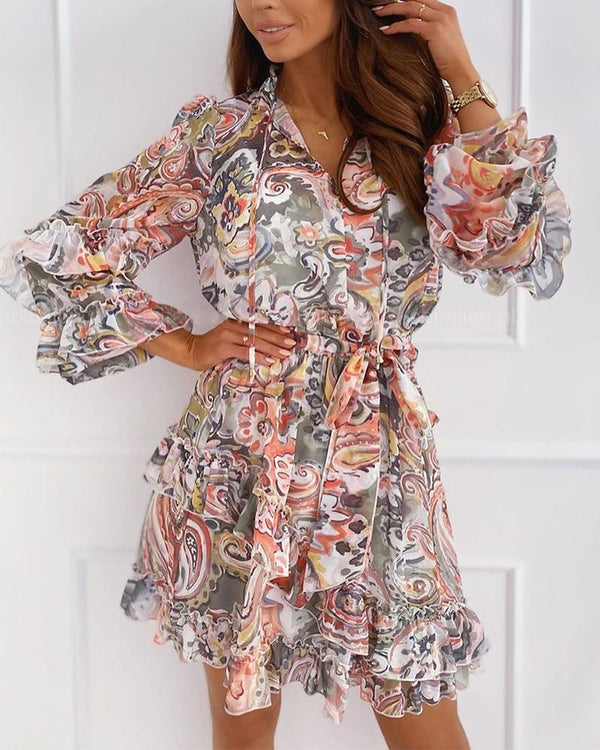 Floral Print Layered Ruffle Mini Dress