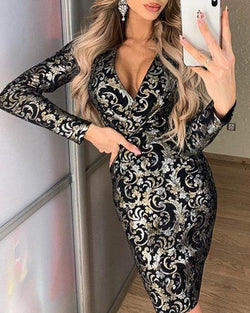 V Neck Royal Print Dress