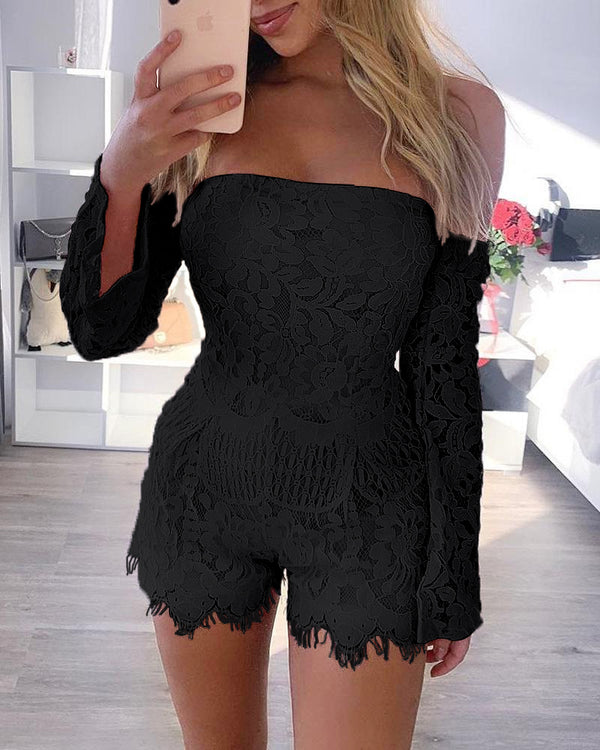 Off Shoulder Eyelash Lace Trimmed Romper