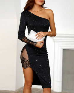 One Shoulder Lace High Slit Party Dress