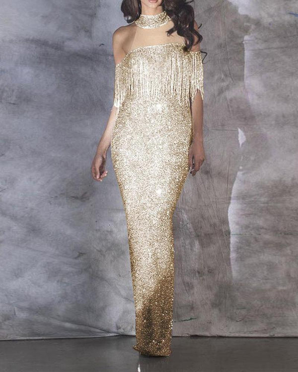 Sequined Halter Neck Evening Dress