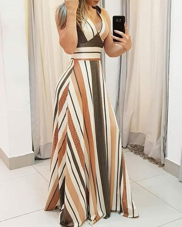 Striped Colorblock Plunge Maxi Dress