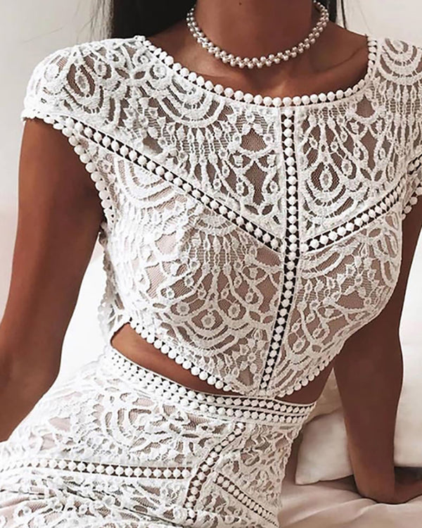 Crochet Lace Mesh Top & Skirt Set