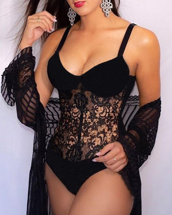Spaghetti Strap Crochet Lace Hollow Out Teddy