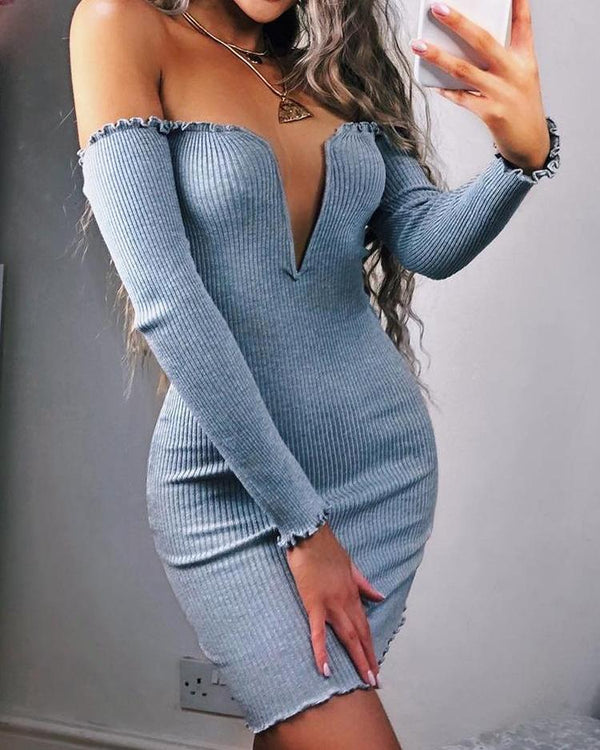 Frills Notched Neck Long Sleeve Bodycon Dress