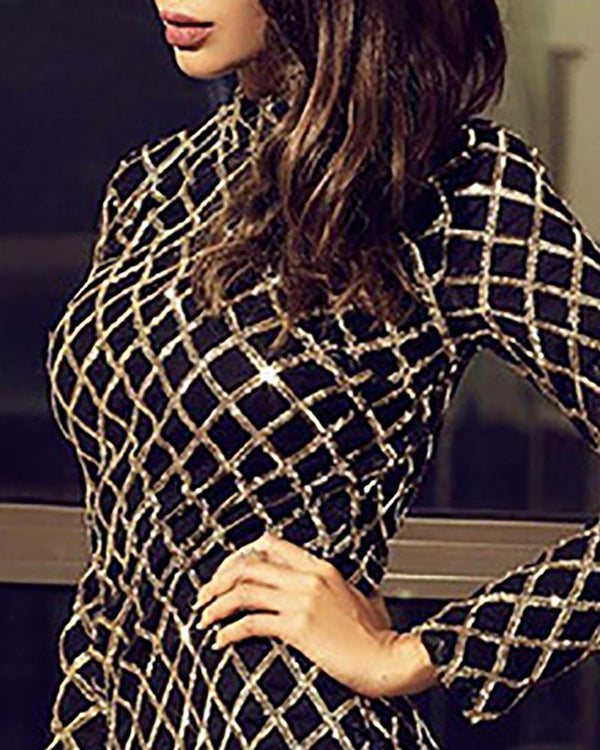 Sequis Grid Long Sleeve Bodycon Dress