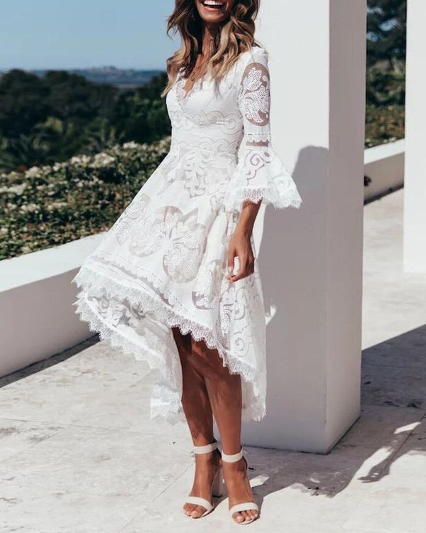 Eyelash Crochet Lace Bell Sleeve Dip Hem Dress