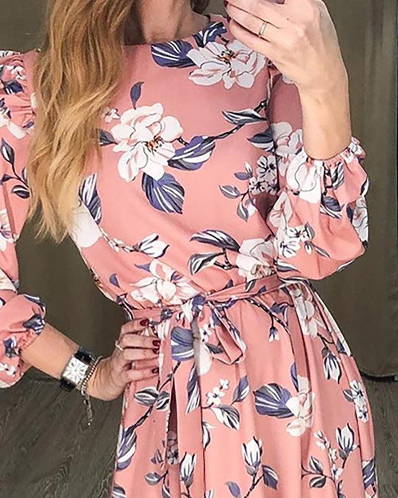 Lantern Sleeve Ruffles Floral Print Dress