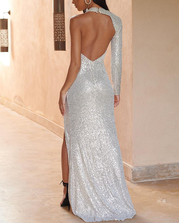 One Shoulder Sequined Slit Dress