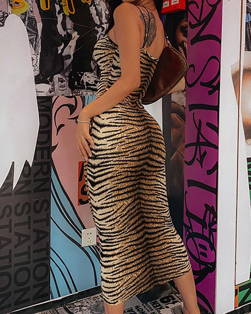 Tiger Print Spaghetti Strap Midi Dress