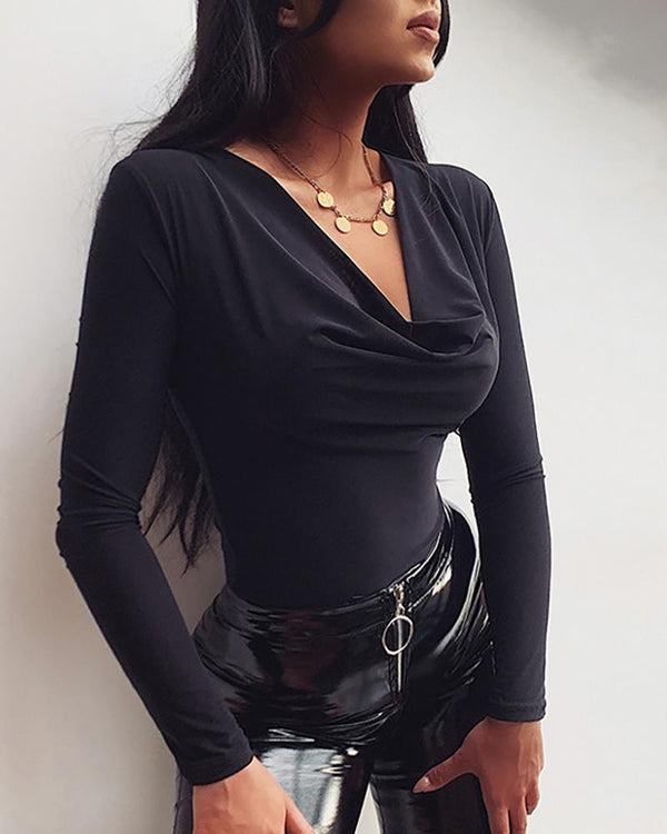 Solid Cowl Neck Long Sleeve Bodysuit