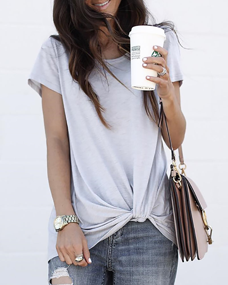 Solid Short Sleeve Tied Detail T-shirt
