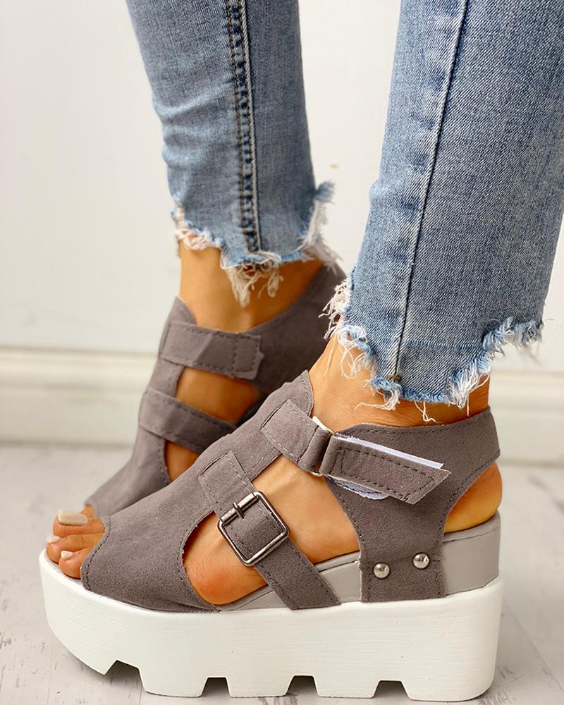 Cutout Velcro Platform Wedge Sandals