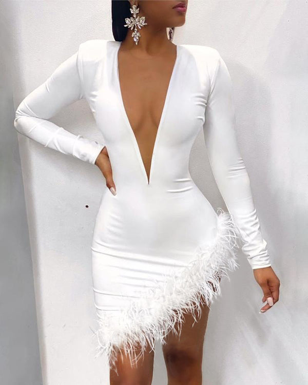 Solid Plunge Fluffy Irregular Party Dress