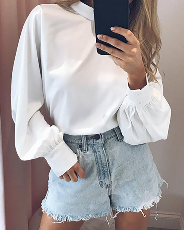 Solid Lanter Sleeve Casual Blouse