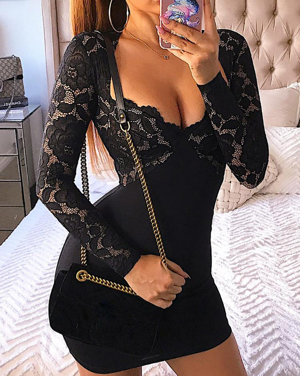 Lace Bodice Low Cut Bodycon Mini Dress