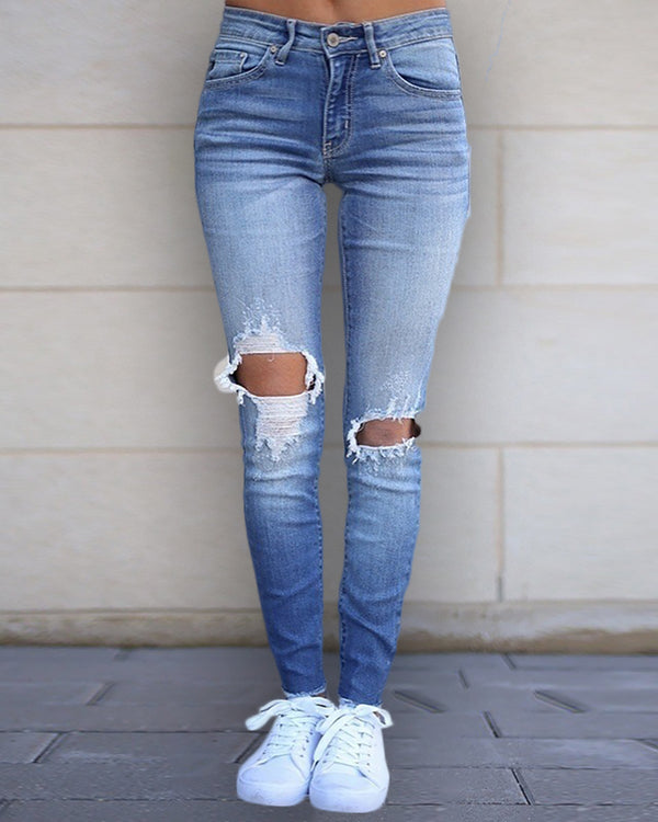 High Waist Ripped Baggy Jeans