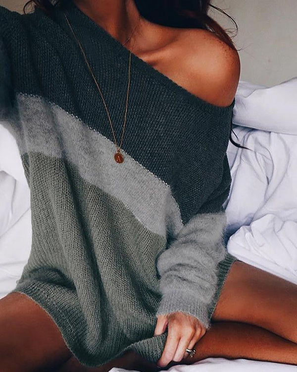 Contrast Color Skew Neck Long Sleeve Sweater