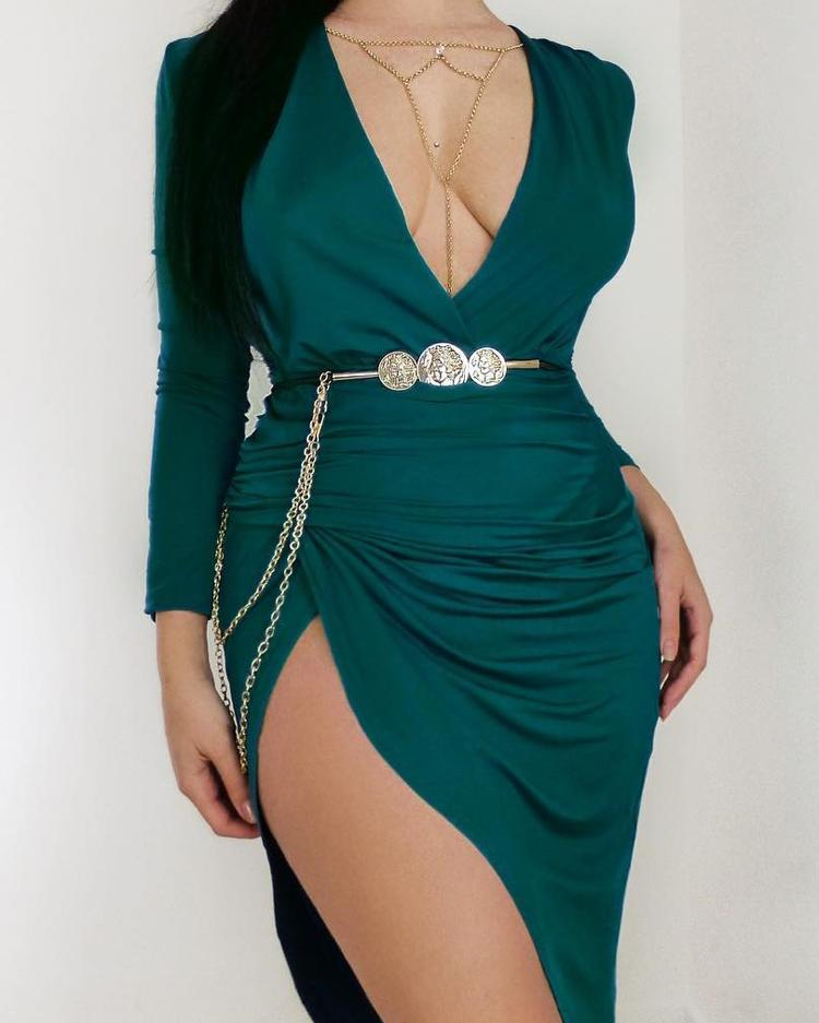 Long Sleeve Ruched Slit Irregular Party Dress