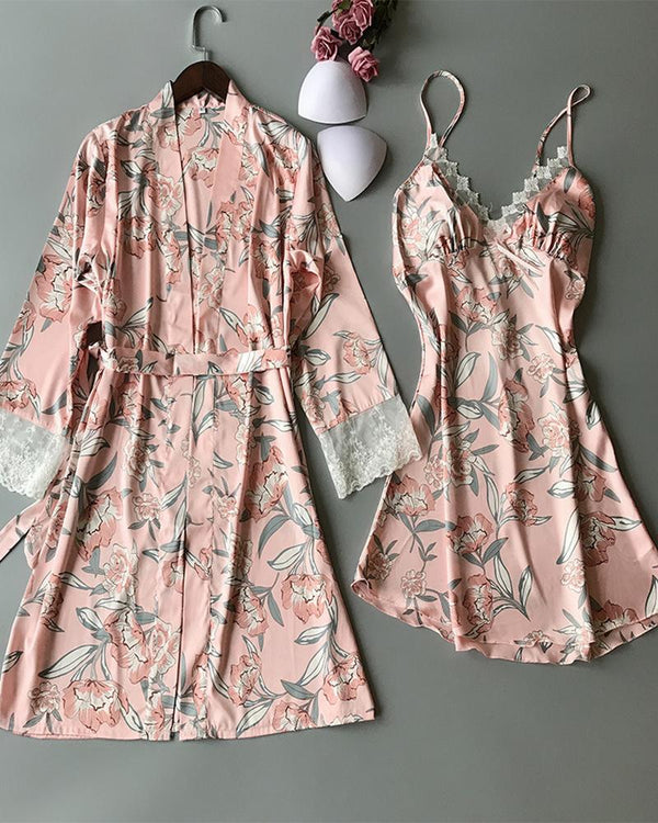 Floral Print V-neck Lace Trim Cami Dress & Robe Set