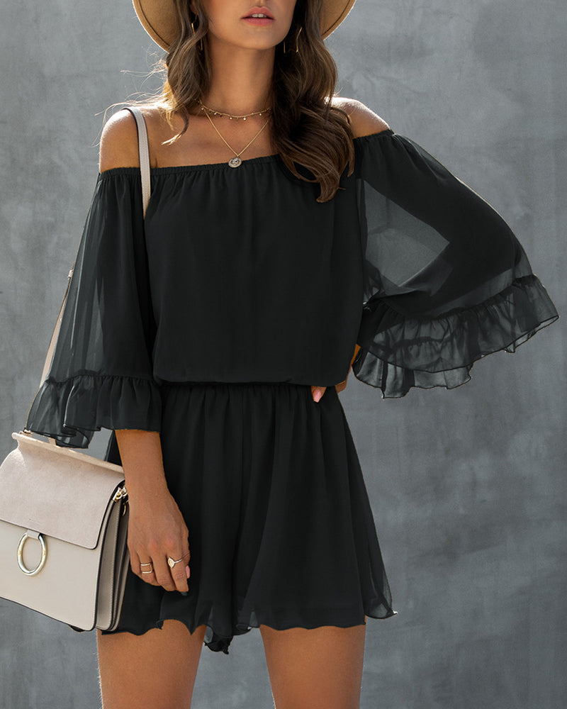Off Shouler Ruffles Long Sleeve Casual Romper