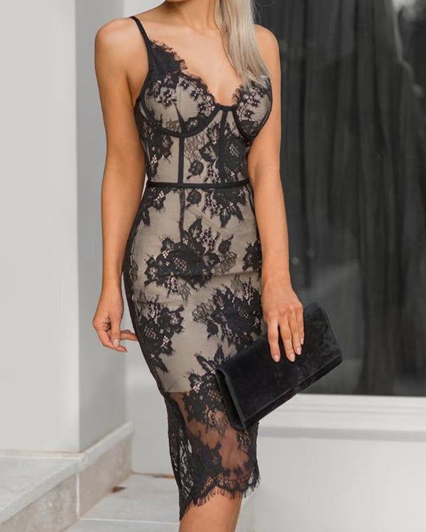 Spaghetti Strap Eyelash Lace Party Dress