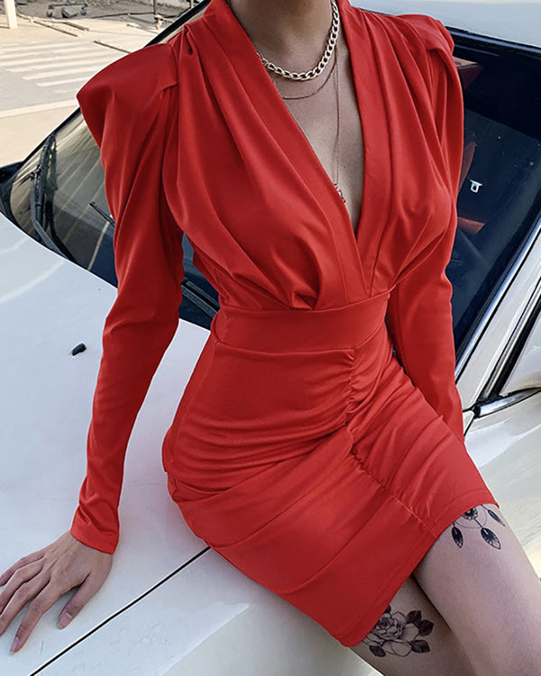 Solid Tight Waist Ruched Dress