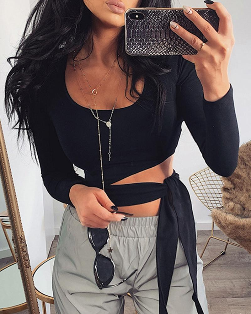 Solid Tie Front Crop Top
