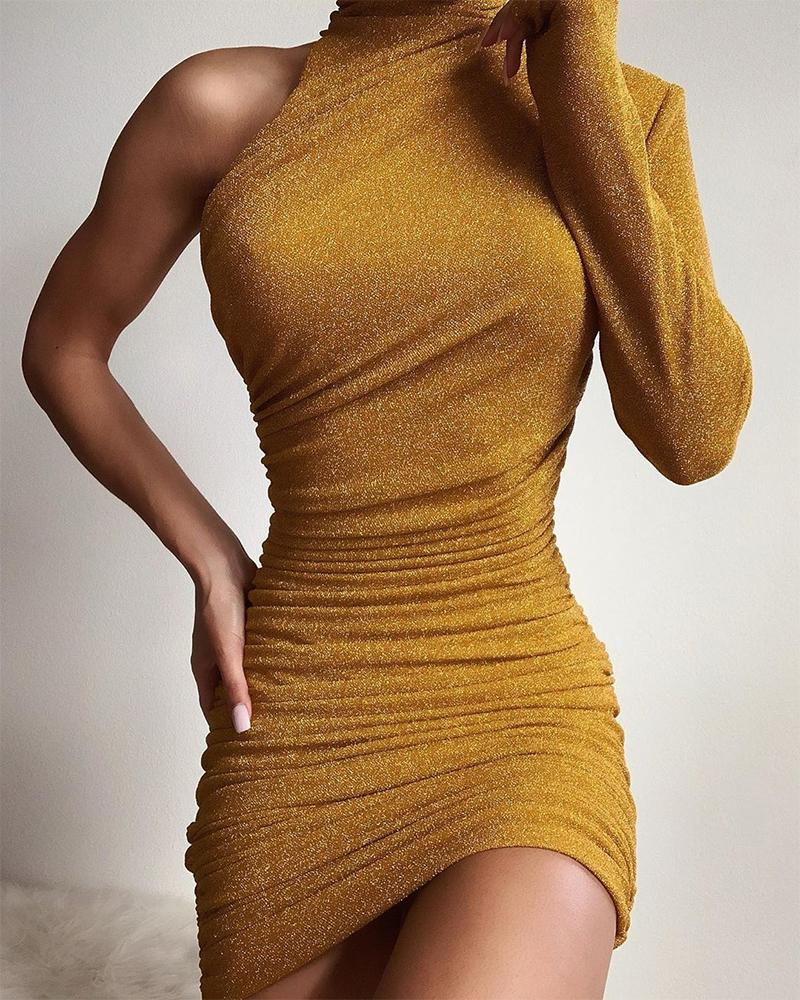 One Shoulder Bodycon Ruched Dress
